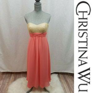 Christina Wu Sequin Bodice Bridesmaid Formal Dress